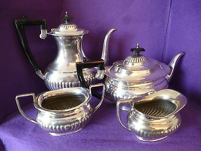 A Fabulous Looking Vintage Four Piece Silver Plated Tea Set, Half Ribbed