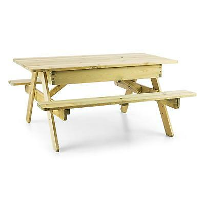 Blumfeldt Indoor Outdoor Picnic Table Wood Kids Garden Bench Built- In Sand Box