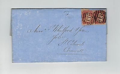 GB QV 1862 1d RED STAR X2 STAMPS PERF 14 ON ENTIRE - ST.COLUMB REAR CANCEL