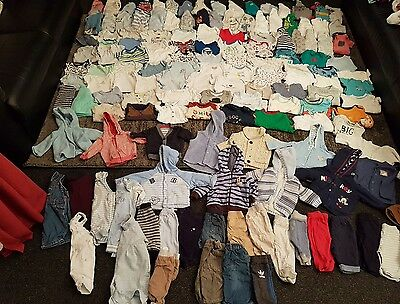 baby boys 0-3 months clothes bundle 145 items