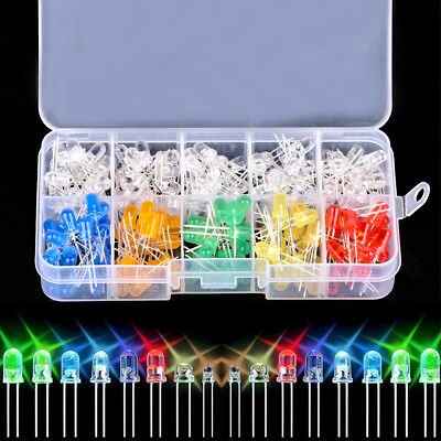 200Pcs 5mm Red Green Blue Yellow White Light Emitting LED Diode Assorted Kit Box