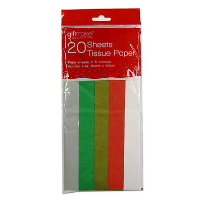 Christmas Coloured Tissue Paper - 5 Festive Colours - 20 Sheets, 500mm x 500mm