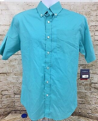 Croft and barrow men 39 s teal stripe button down shirt short for Mens teal button down shirt