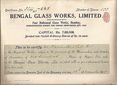 1919 India share certificate: Bengal Glassworks Limited