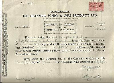 1968 India share certificate: The National Screw & Wire Products Ltd