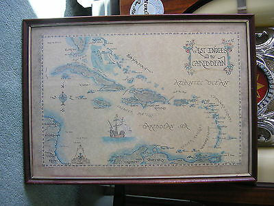 West Indies And The Carribean Islands, Map. Framed