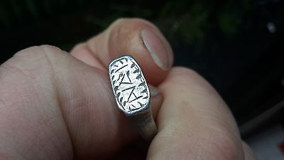 Lettered Medieval Silver Ring/See Condition For Info-Detecting Find