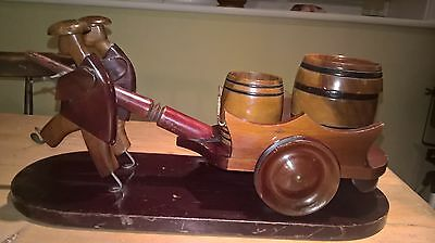 Vintage Asian Chinese Wooden Cart With Men and Barrels