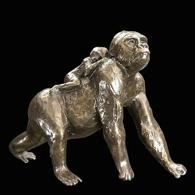 Gorilla with Baby Solid Bronze Foundry Cast Sculpture by Michael Simpson (947)