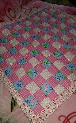 handmade Patchwork baby quilt. cot cover. playmat .