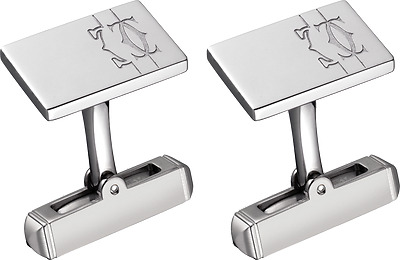 Cartier Lines and Logo Cufflinks, Sterling Silver
