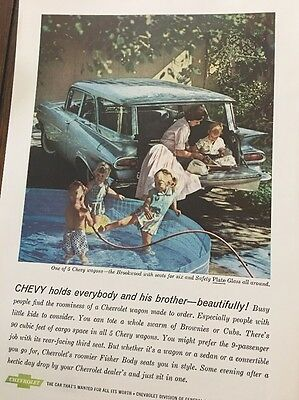 1959 Vintage Chevy Chevrolet Brookwood Station Wagon Car Photo Print AD