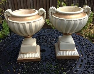 Pair large art deco/victorian style cream and gold decorative urns