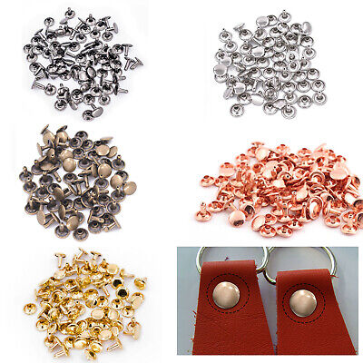 100 Two Piece Double Cap Tubular Rivets Leather Craft Cloth Repair 6mm-15mm