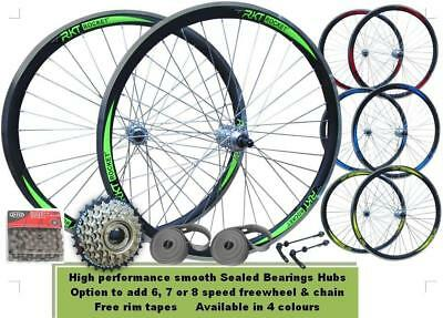 "26"" Rocket Bicycle MTB Bike 6/7 Speed QR Front Rear Disc Wheel Set Double Wall"
