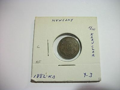 Hungary 1882-KB 5/10 Krajczar copper coin
