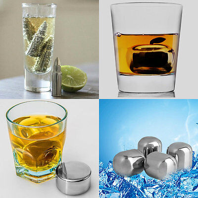 Bullet Shaped Stainless Steel Ice Cube Bar Pub Party Drink Wine Whiskey Ball DIY
