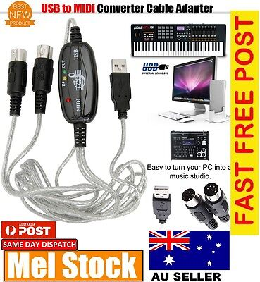 New USB IN-OUT MIDI Interface Cable Converter PC to Music Keyboard Cord In Au