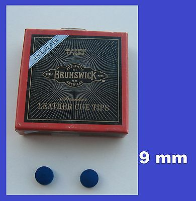 2 x 9mm  QUALITY BLUE DIAMOND POOL or SNOOKER CUE TIPS  sep
