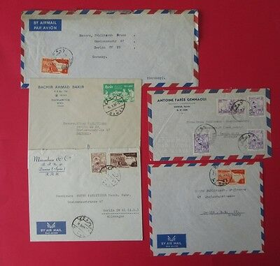 SYRIA to germany 1950's 5 covers DAMAS DAMASCUS air post stamps