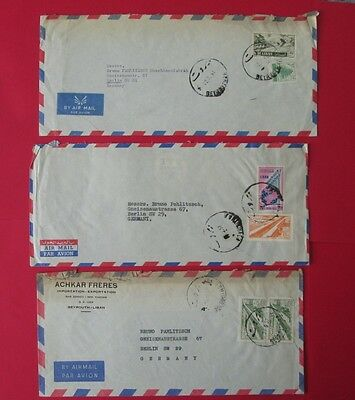 LEBANON to germany 1957 3 covers air post stamps
