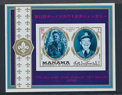 Manama 1971 Boy Scout Jamboree Japan Eisenhower Neil Armstrong souvenir sheet NH