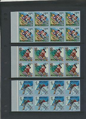Bhutan 89-89E 1967 Boy Scout Jamboree USA set of IMPERF blocks of 8 NH cv $128