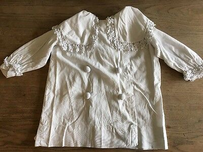 Antique Victorian white cotton baby or doll's Christening coat  lace Collar