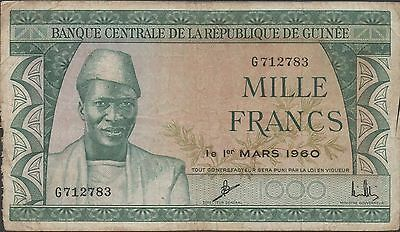 Guinea , 1000 Francs , 1.3.1960 , P 15a , Prefix G , Circulated Banknote