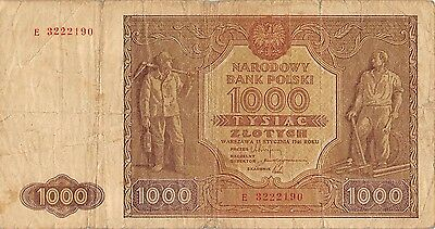 Poland  1000 Zlotych  15.1.1946  P 122  Series E  Circulated Banknote