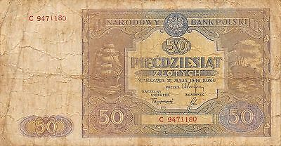 Poland  50  Zlotych  15.1.1946  P 128  Series C  Circulated Banknote
