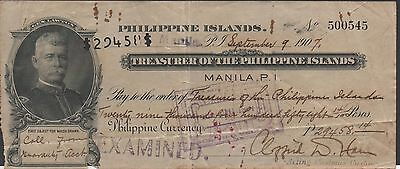 Philippines Islands  29,458.14 Peso  9.9.1907  Gen. H.W. Lawton  Rare Circulated