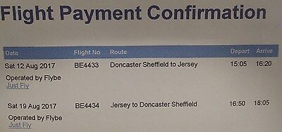 FLIGHT TICKETS - Family of 5 from DONCASTER to JERSEY 12th Aug 17 Returns