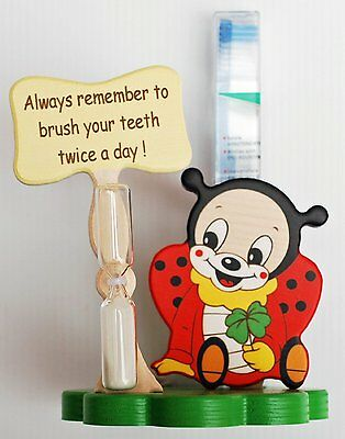 Ladybird Toothbrush Holder with Toothbrush & Timer - Italian - Handcrafted