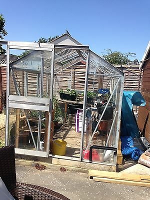 Glass greenhouse with sliding door roof vents  2 x minor cracks to panes