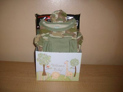 Welcome Baby Boy Camo Baby Shower Gift Basket or Centerpiece