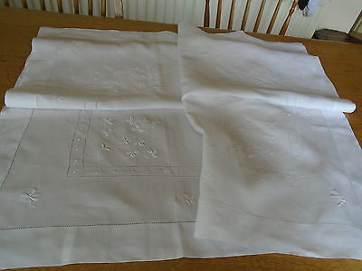 Vintage Hand Embroidered Irish Linen Tablecloth - Whitework - 45 Ins Sq