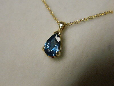 Pear Blue Topaz Pendant .70ct  & Chain 14K Yellow Gold
