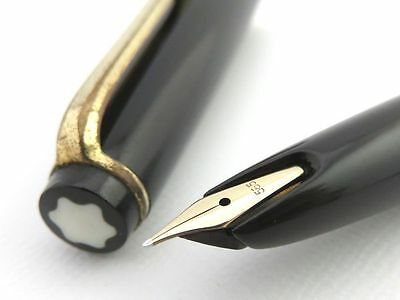 MONTBLANC No 32 Black & 14K Gold 585 Vintage Fountain Pen Piston [979-1]