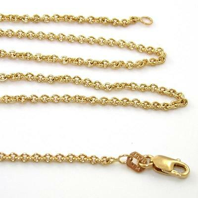 """Solid 14K Yellow Gold Rolo Chain Link Necklace18.25"""" 2mm ZX"""