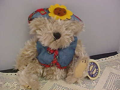The Brass Button Bear Collection Blossom Bear Blue Jean Vest Flower on Hat NEW