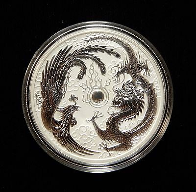 2017 Australia Perth Mint 1oz Silver Dragon and Phoenix Bullion Coin In Capsule