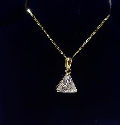 9ct Cubic zirconia pendant with curb chain in yellow gold 18 inch long