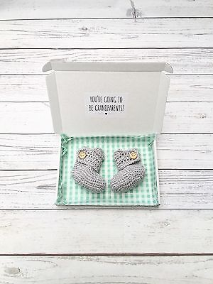 Pregnancy Announcement Grandparents, Crochet baby Booties Grey
