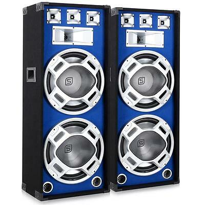 """Pair Party Dj Pa Blue Led Loudspeakers Dual 15"""" Inch Bass Drivers 3-Way New Set"""