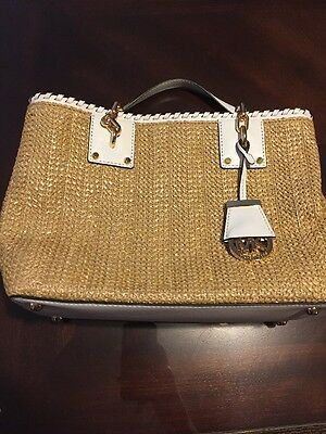 e3595ae37735 New Michael Kors Straw Rosalie MD East West Tote Four-weave Leather white  bag