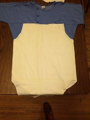 vintage RUSSELL ATHLETIC CLOTH THICK COTTON 3/4 SLEEVE BASEBALL JERSEY 1960'S  L