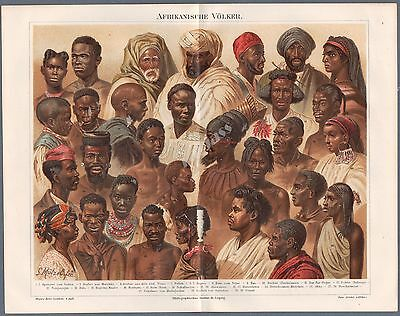1890 Print Meyers Lexikon Peoples Ethnic Groups Types of Africa