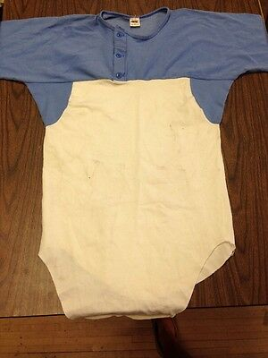 vintage RUSSELL ATHLETIC CLOTH THICK COTTON 3/4 SLEEVE BASEBALL JERSEY 1960'S  M