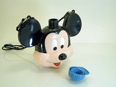Vintage Mickey Mouse Head Plastic Water Vodka Canteen Flask Container Bottle